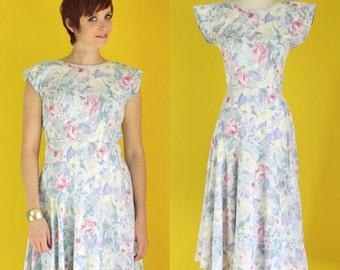 Vintage 80s Floral Dress - Pastel Dress - Full Skirt Dress - Summer Midi Dress - Cotton Party Dress - Open Back Dress - Size Small