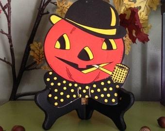 Vintage Halloween 1950s HE Lurhs Jack O Lantern Smoking Pipe Pumpkin Embossed Halloween Die Cut Decor Display