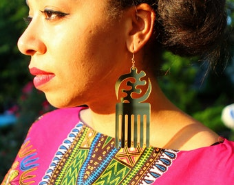 Gye Nyame Comb Earrings