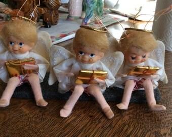 Vintage Christmas Angel Ornament Shelf Sitters Japan