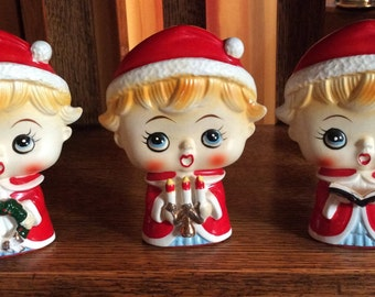 Big Face Choir Set Adorable Vintage Christmas
