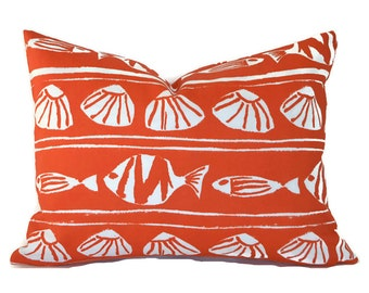 Indoor Outdoor Lumbar Pillow Cover ANY SIZE Decorative Pillow Cover Orange Pillows Premier Prints Outdoor Caicos Orange