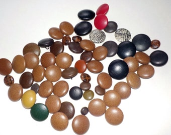 Vintage Buttons, Faux Leather, Browns Plus Other Colours, Large and Small Buttons