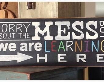 Hand stenciled teacher's sign