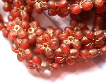 12 Rust Authentic Czech/Matte/Old Patina Flower Beads