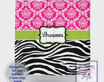 Damask and Zebra Personalized Shower Curtain - Hot Pink, Lime Green Zebra Bathroom Decor