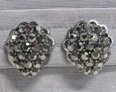 Vintage Weiss Cluster Earrings Silver Grey Rhinestones in Silver Tone Frame Clip On