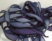 "Starry Night  42"" hand  dyed silk ribbon//Silk wrist wrap bracelet ribbons// Silk wrap ribbons// Silk ribbon //By Color Kissed Silk LLC."
