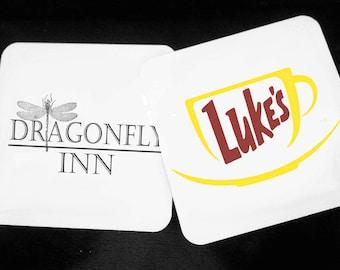 Dragonfly Inn, Luke's Diner,  Gilmore Girls, Like Dane's, Rory Gilmore, Gilmore Girls Gift, Hardwood Coasters