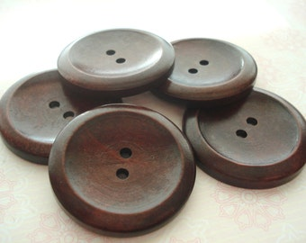 40mm Dark Wood Button Pack of 5 Large Brown Buttons W4001