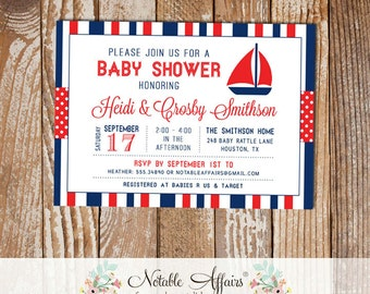 Dark Navy and Red Sailboat Stripes and Polka Dots Baby Shower invitation - choose your colors - Nautical Baby Shower