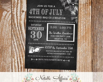 Fireworks Fourth of July 4th of July Modern Chalkboard Party BBQ Barbecue party etc invitation - any event