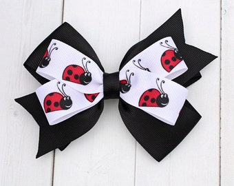 Ladybug Hair Bow -  Hair Bows for Girls - Ladybug Birthday - Ladybug Accessories -Black Hair Bow - Gifts for Girls - Hair Bows for Toddlers