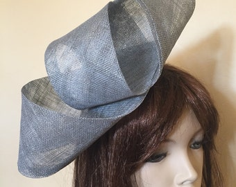 Silver Grey fascinator hat headpiece, perfect for the races or a wedding, pewter hatinator