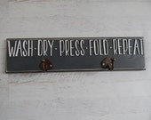 """NEW Laundry Room Decor....Ironing Board Hanger """"T"""" Shaped Legs...Raised Letters...Laundry room storage...HAVENSPLACE"""