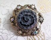Vintage Amethyst Coloured Quartz Brooch - Vintage Brooch - Purple Brooch - Quartz Brooch - Gemstone Brooch - Aurora Borealis Brooch  Vintage