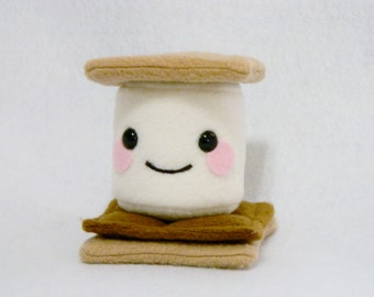 Stuffed S'More plush toy stuffed animal marshmallow chocolate cute kids plushie