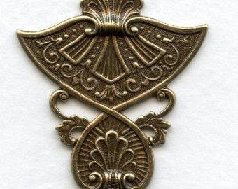 Egyptian Influenced Embellishment, Ox Brass Stamping,  Egyptian Pendant, 31mm, Egyptian Ornament