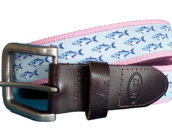 Bluefish Nautical Belt / Leather Belt / Canvas Belt / Preppy Webbing Belt for Men, Women and Children/Bluefish Ribbon on Pink