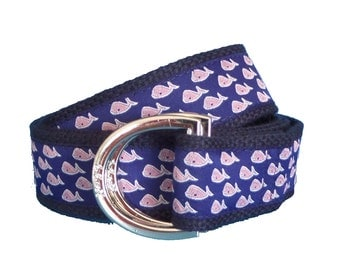 Nautical Whale D-Ring Belt, Whale Ribbon on Navy Webbing, Adjustable Belt, Preppy Belt for Men, Women and Children