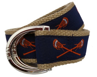 Lacrosse Belt / D-Ring Belt / Canvas Belt / Preppy Belt/ Men's Belt/ Women's Belt/ Children's Belt/ Orange Lacrosse Sticks on Navy