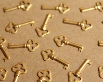 16 pc. Raw Brass Key Charms: 19.5mm by 9mm - made in USA | RB-897