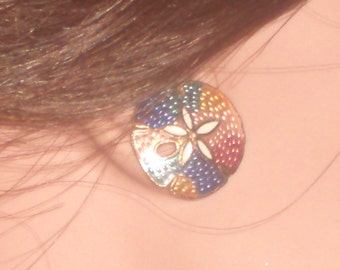 Vintage Cloisonne Sand Dollar Earrings