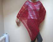 Knitting Summer Poncho Scarf shawl wrap crochet knit Shawl bordeaux mesh net fishnet ooak handmade soft wool openwork burgundy maroon claret