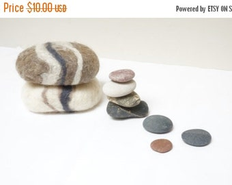 CIJ SALE 2 felted soaps pebbles stone rock shape set. Soap scrub and sponge in 1 Christmas gift under 5 natural gray white cream brown camel