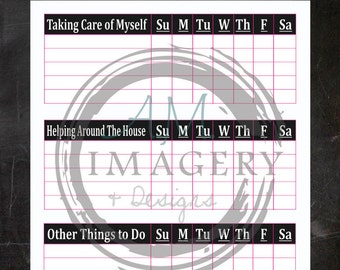 Chalkboard with Pink Outline Instant Download Chore Chart