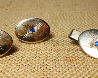 Vintage Cuff Links, Tie Clip, Swank, Gold, Blue Stone, Oval Shape, Set of Three, 1940's, Swank Jewelry