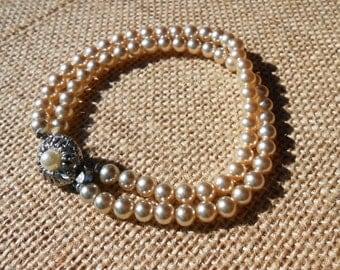 Vintage Pearl, Bracelet, Double Strand, Faux Pearl, Vintage Jewelry, Bridal Bracelet, Wedding Jewelry