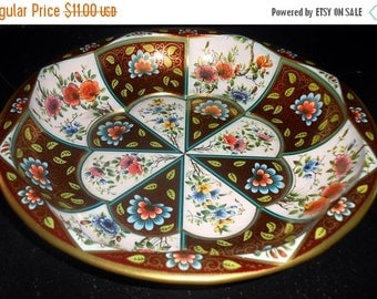 ON SALE Vintage Bowl, Daher Decorated Ware, Tin, Made in England, Floral, 1971