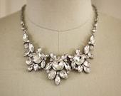 Bold Crystal Necklace - Wedding Jewelry - Bridal Necklace - Crystal Statement Bib Necklace, Bridal Jewelry - Fenna