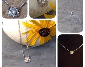 Repurposed Jewelry! Petite and Dainty Rhinestone and Pearl Wavy Flower Pendant Assemblage Choker Necklace Silver Bridal XO WishAnWearJewelry