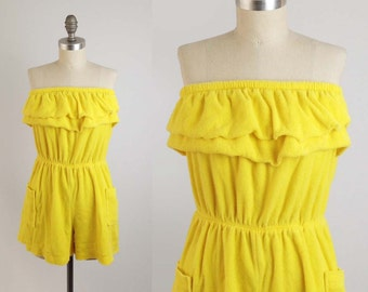 Vintage 70s 80s Strapless Romper - Sunny Yellow Ruffled Terrycloth Playsuit Onesie - Size Large