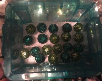 Green gem push pin thumb tacks and storage box glitter push pins