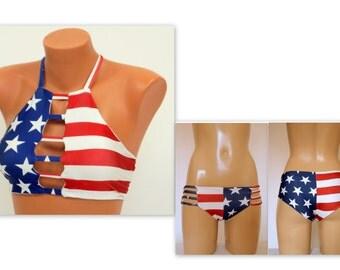 PADDED American flag strappy top and strappy matching bottoms-Swimsuit-4th July bikini-Bikini bottoms-Swimwear-Bathing suit-XS-S-M-L-XL