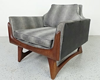 mid century modern reupholstered two tone Adrian Pearsall Craft Associates lounge chair