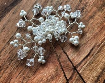 Amy hair pin - Swarovski crystal and pearl hair pin, bridal hair pin