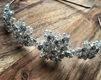 Ava Side Tiara, Bridal side tiara, bridal tiara, crystal tiara, pearl tiara, side tiara