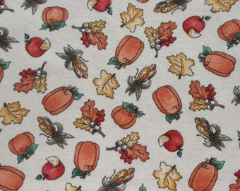 Vintage Small Print Pumpkin Fall Tshirt Fabric, Thanksgiving Leaf Harvest Fabric, Jersey Knit Material, Stretchy Soft Sewing T-shirt Fabric
