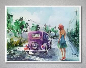 Adieus Watercolor Painting by Faruk Koksal - Print on 290 gr. Textured Fine Art Paper