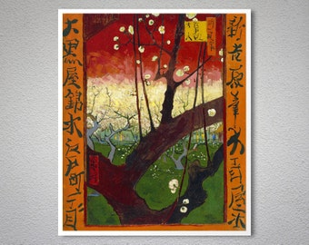 Flowering Plum Tree (After Hiroshige) by Vincent Van Gogh - Poster Paper, Sticker or Canvas Print / Gift Idea