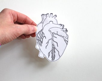 Anatomical heart, heart sticker, anatomical heart sticker, medical illustration, anatomy, laptop stickers, computer sticker, science, vinyl