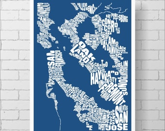 San Francisco Map Print -  San Francisco Bay Area Typography Map, Various Colors, Type Map Art Print Poster