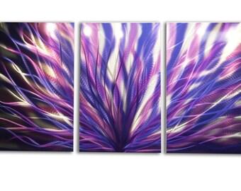 Metal Wall Art Aluminum Decor Abstract Contemporary Modern Sculpture Hanging Zen Textured - Radiance Purple