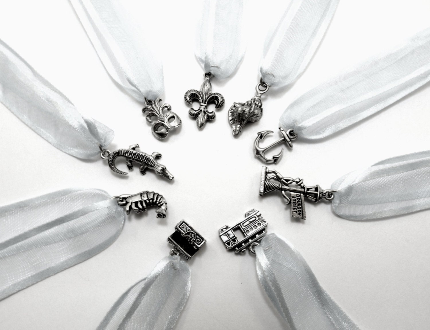 wedding cake pull charms new orleans theme pewter set of. Black Bedroom Furniture Sets. Home Design Ideas