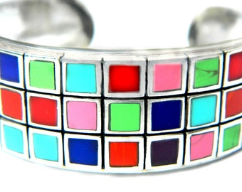 Multicolor Sterling Cuff Bracelet Modern Square Geometric Stone Quartz Vintage Thai Multi Stone 925 SALE Coupon Sparkle2016 For 15% Discount