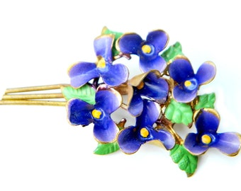 Austria Flower Bouquet Brooch Vintage Purple Enamel Flower Pin Collectible Jewelry For Women Forget Me Not Possible 10K GF Gold Filled